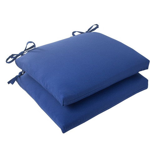 """Set of 2 Navy Blue Solid Outdoor Patio Square Edged Seat Cushions 18.5"""" - IMAGE 1"""