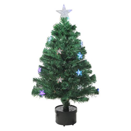 3' Pre-Lit Color Changing Fiber Optic Christmas Tree with Stars - IMAGE 1