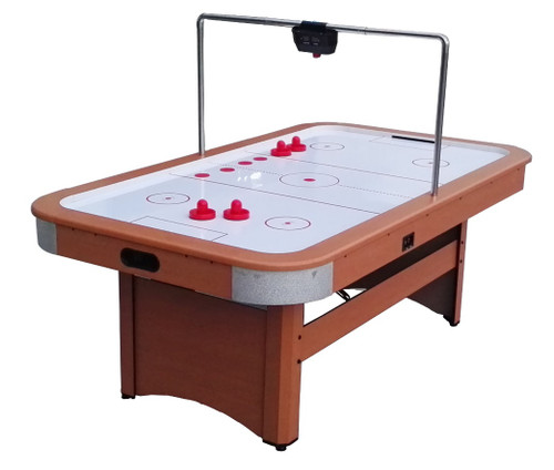 7' x 4' Recreational Brown, White and Red Air Hockey Game Table - IMAGE 1