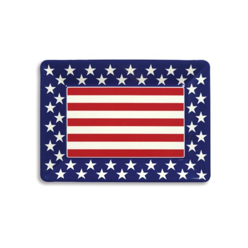 Club Pack of 12 Red, White, and Blue Patriotic Themed Plastic Serving Tray - IMAGE 1
