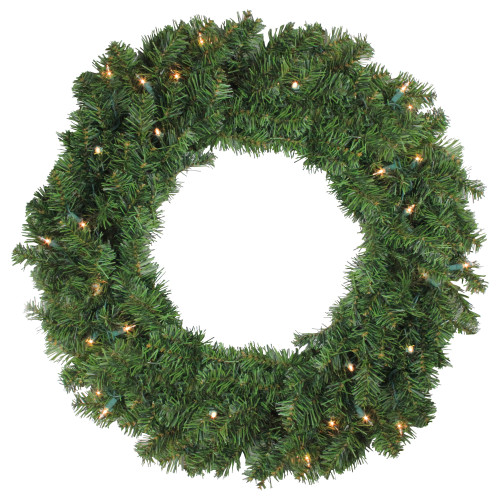 """24"""" Pre-Lit Canadian Pine Artificial Christmas Wreath - Clear Lights - IMAGE 1"""