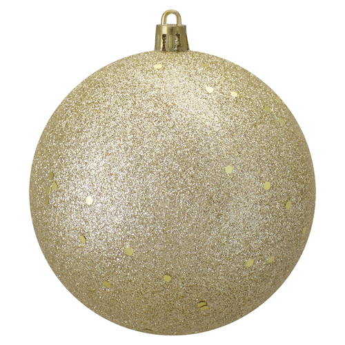 """Champagne Gold Shatterproof Holographic Glitter Christmas Ball Ornament 4"""" (100mm) - IMAGE 1"""