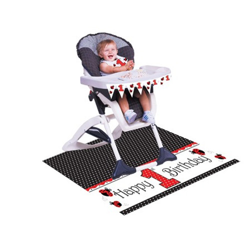 """Pack of 6 Ladybug Fancy Happy 1st Birthday High Chair Party Kit 48"""" - IMAGE 1"""