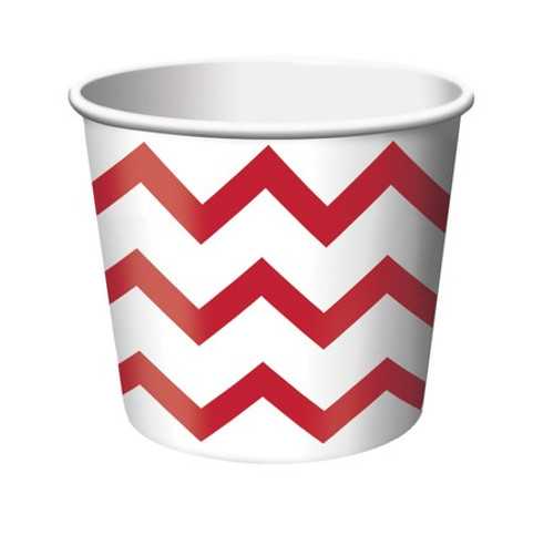 Club Pack of 144 Classic Red and White Chevron Party Treat Cups 8 oz. - IMAGE 1