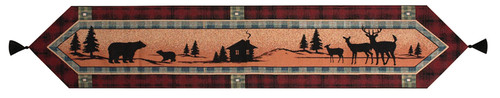 "72"" Red and Orange Country Lodge Deer Hunting Table Runner - IMAGE 1"