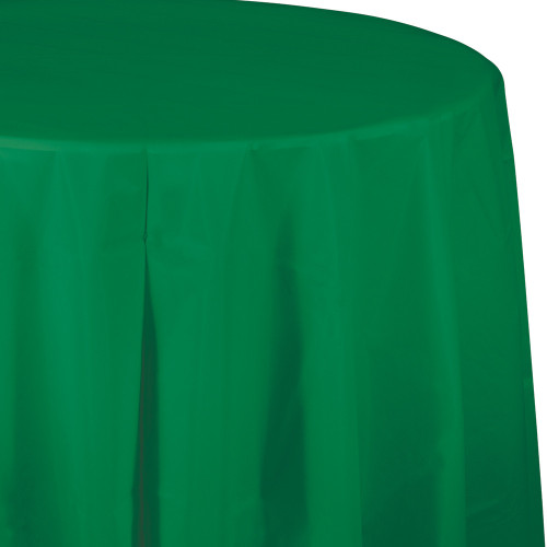 """Club Pack of 12 Emerald Green Octy-Round Disposable Table Covers 82"""" - IMAGE 1"""