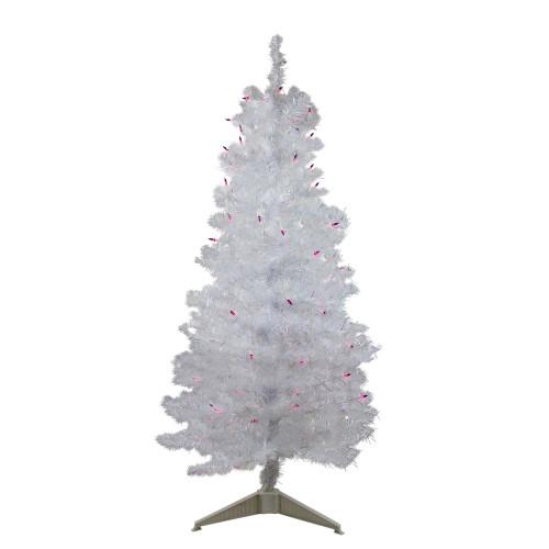 4' Pre-lit White Iridescent Pine Artificial Christmas Tree - Purple Lights - IMAGE 1