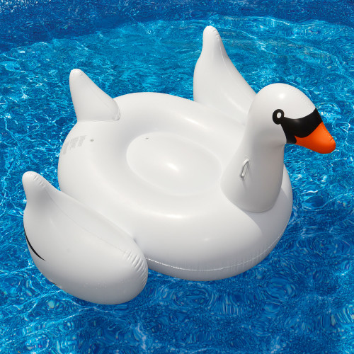 """75"""" Inflatable White and Black Giant Swan Swimming Pool Ride-On Float Toy - IMAGE 1"""