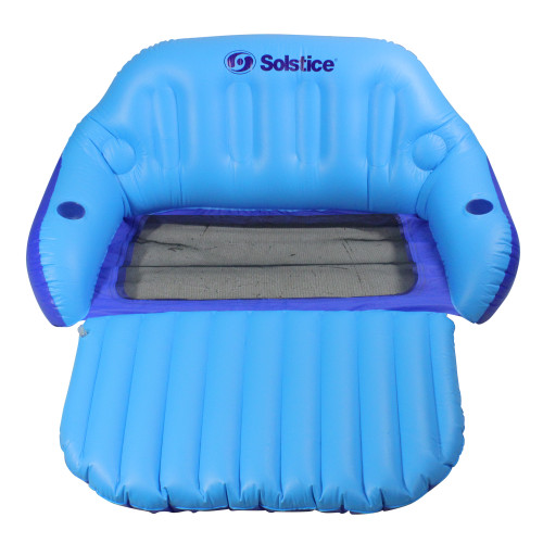 72-Inch Inflatable Blue Love Seat Swimming Pool Float with Convertible Foot Rest - IMAGE 1