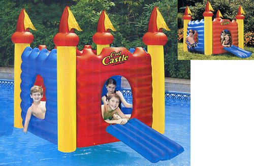 """62"""" Blue and Red Inflatable Cool Castle Floating Playhouse Swimming Pool Toy - IMAGE 1"""