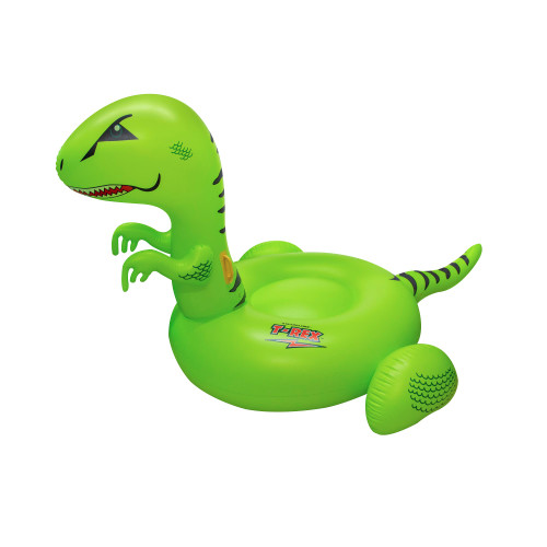 """78"""" Inflatable Green and Black Giant T-Rex Ride-On Swimming Pool Float Toy - IMAGE 1"""