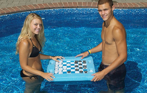 "20"" Blue and White Floating Checkers and Backgammon Swimming Pool Board Game Combo - IMAGE 1"