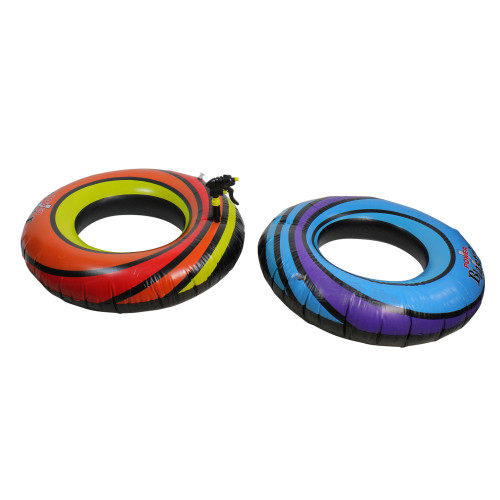 Set of 2 Blue and Orange Inflatable Power Blaster Inner Tubes, 40-Inch - IMAGE 1