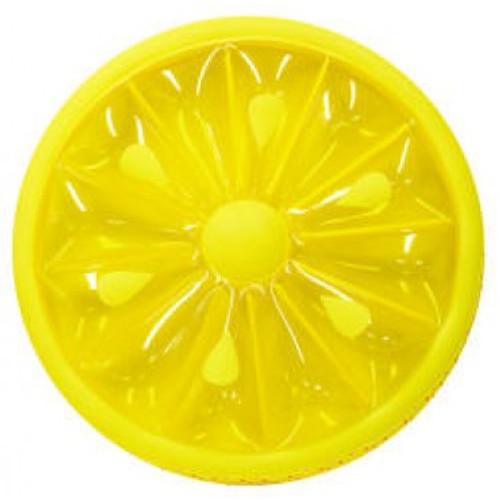 "61.5"" Inflatable Yellow Lemon Fruit Slice Swimming Pool Lounger Raft - IMAGE 1"