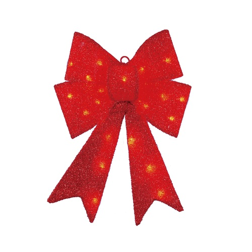 """17"""" LED Lighted Red Sparkly Bow Christmas Decoration - IMAGE 1"""