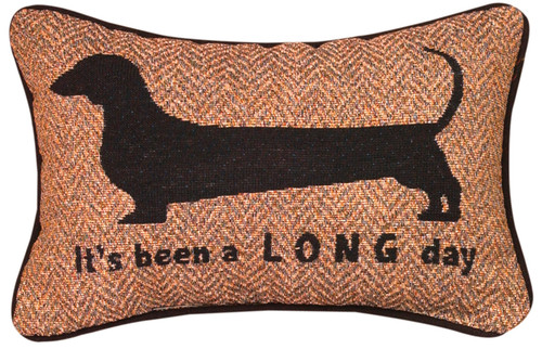"12.5"" Black and Brown ""It's Been A Long Day"" Rectangular Throw Pillow - IMAGE 1"