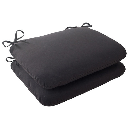 "Set of 2 Black Solid Outdoor Patio Rounded Seat Cushions 18.5"" - IMAGE 1"