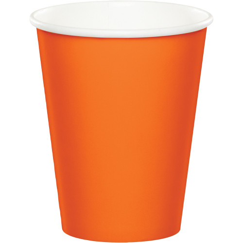 Club Pack of 240 Sunkissed Orange Disposable Paper Drinking Party Tumbler Cups 9 oz. - IMAGE 1