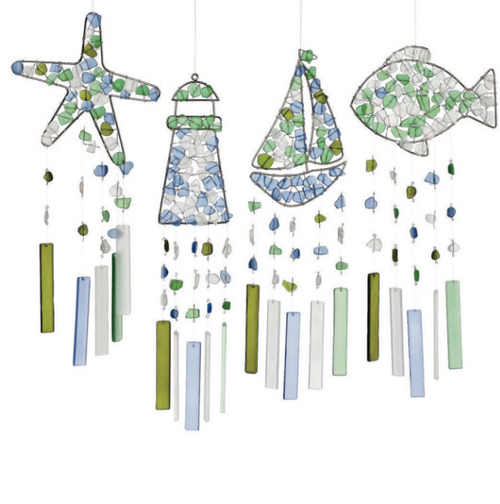 "Set of 4 Sea Glass Silhouette Windchime 18"" - IMAGE 1"