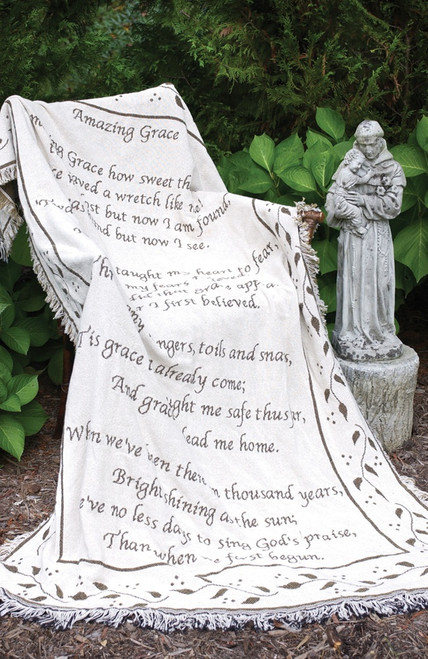 """Ivory and Brown """"Amazing Grace"""" Religious Hymn with Floral Border Fringed Two-Layer Jacquard Throw Blanket 60"""" X 46"""" - IMAGE 1"""