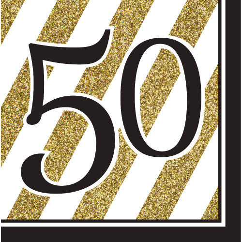 """Pack of 192 Gold and White Striped Disposable """"50"""" Birthday Party Luncheon Napkins 6.5"""" - IMAGE 1"""