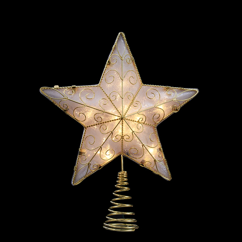 """11.75"""" Lighted Gold Reflector Star Christmas Tree Topper - Clear Lights - IMAGE 1"""