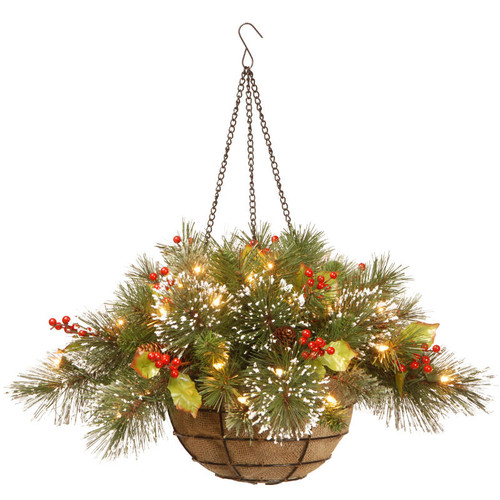 "20"" Pre-Lit Battery-Operated Artificial Pine with Berries Christmas Hanging Basket - Warm Clear LED Lights - IMAGE 1"