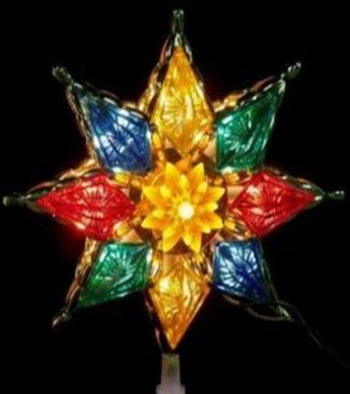 "8"" Lighted Multi-Color Crystal 8-Point Star Christmas Tree Topper - Clear Lights - IMAGE 1"