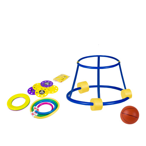 """18"""" Vibrantly Colored 4-In-1 Fun Pack Swimming Pool Game Set - IMAGE 1"""