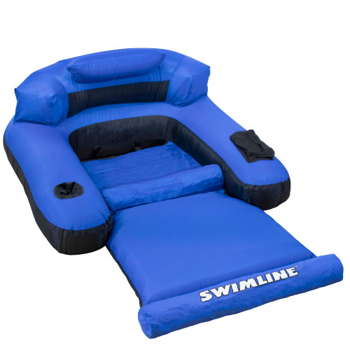 "55"" Inflatable Blue and Black Ultimate Floating Swimming Pool Chair Lounger - IMAGE 1"