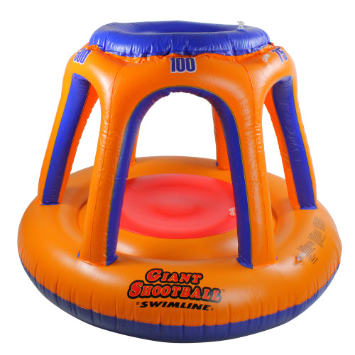 """48"""" Orange and Blue Inflatable Giant Floating Shoot Ball Swimming Pool Game - IMAGE 1"""