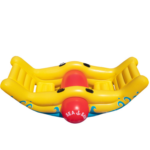 "90"" Inflatable Yellow and Red Water Sports Sea-Saw Rocker Swimming Pool Toy - IMAGE 1"