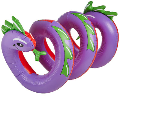 Inflatable Purple and Green Two Headed Curly Serpent Swimming Pool Float Toy, 96-Inch - IMAGE 1