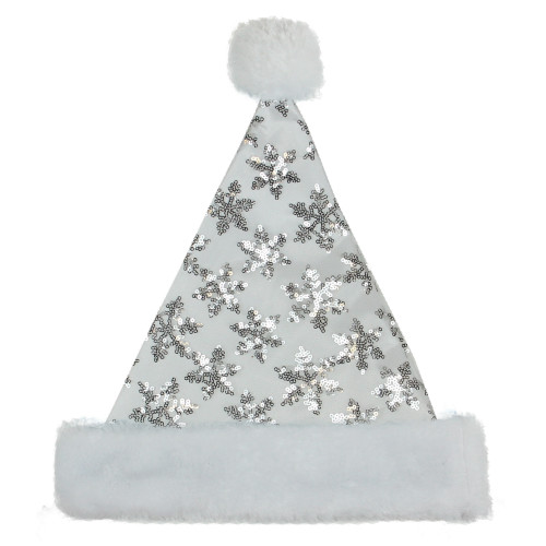 """21"""" Silver and White Sequin Snowflake Christmas Santa Hat Costume Accessory - Medium - IMAGE 1"""