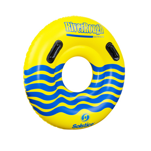 48-Inch Inflatable Yellow and Blue Swimming Pool Ring Tube with Handles - IMAGE 1