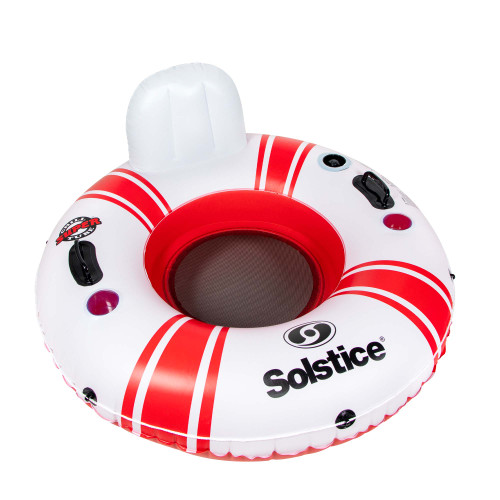 52-Inch Inflatable Red and White Swimming Pool Inner Tube Float - IMAGE 1