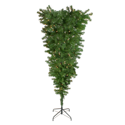 5.5' Pre-Lit Medium Spruce Upside Down Artificial Christmas Tree - Clear Lights - IMAGE 1