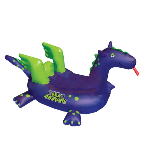 Inflatable Purple and Green Sea Dragon Swimming Pool Float, 89-Inch - IMAGE 1