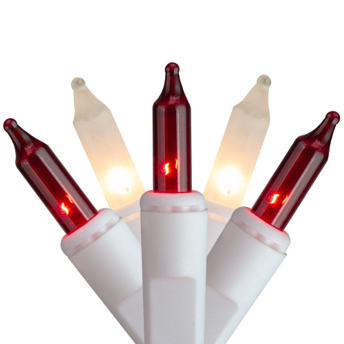 Set of 50 Red and Frosted Clear Mini Window Icicle Christmas Lights - 2.6 ft White Wire - IMAGE 1