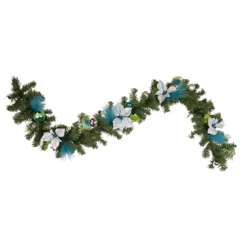 "6' x 9"" Peacock Feather and Poinsettia Artificial Christmas Garland - Unlit - IMAGE 1"