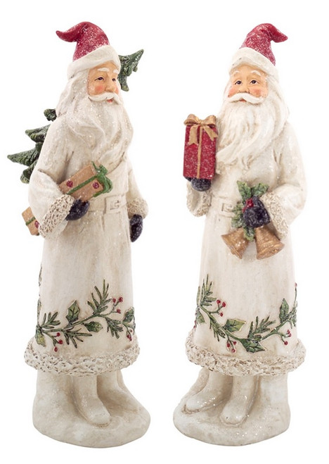 "12.5"" White Botanical Santa Claus with Bells and Gift Christmas Decoration - IMAGE 1"