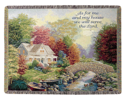 """Religious Inspirational Autumn Tranquility Tapestry Throw Blanket 50"""" x 60"""" - IMAGE 1"""