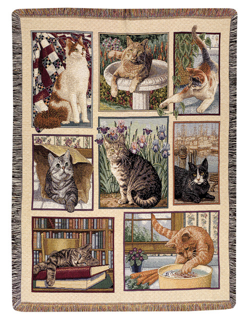 "Kitty Corner Contemporary Feline Tapestry Throw Blanket 50"" x 60"" - IMAGE 1"