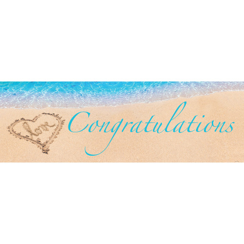 """Pack of 6 Blue and Brown Congratulations Giant Party Banners 60"""" - IMAGE 1"""