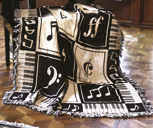 """Black and White Musical Notes Two Layer Throw Blanket 46"""" x 60"""" - IMAGE 1"""
