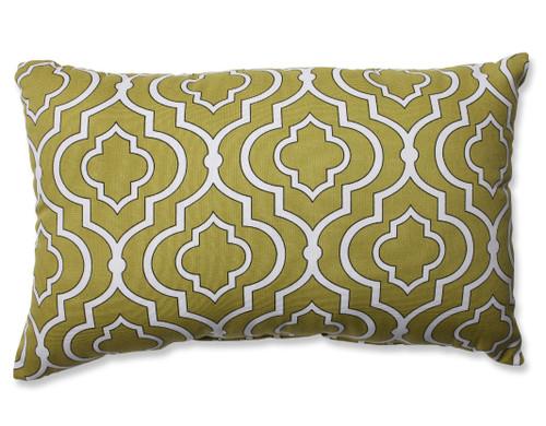 "18.5"" Avocado Green and White Lucky One Rectangular Decorative Throw Pillow - IMAGE 1"