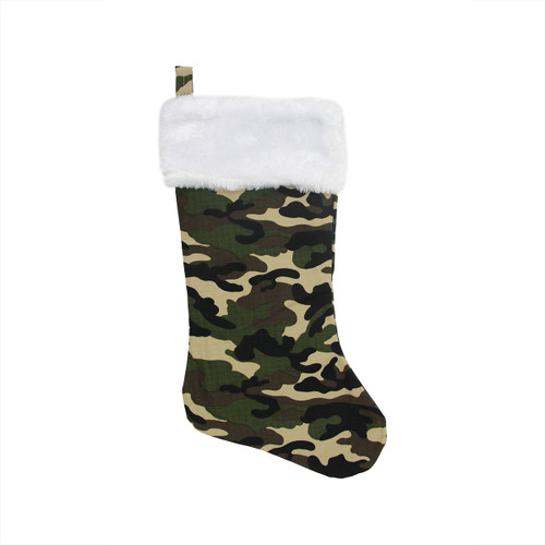 """18"""" White and Green Camouflage Christmas Stocking with Cuff - IMAGE 1"""