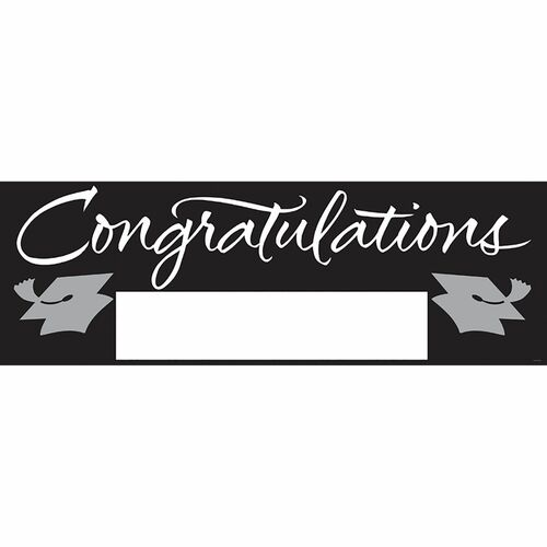 """Pack of 6 Black and White Giant Graduation Party Banners 60"""" - IMAGE 1"""