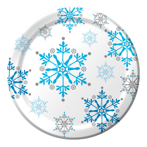 "Club Pack of 96 White and Blue Snowflake Swirls Disposable Luncheon Plates 7"" - IMAGE 1"