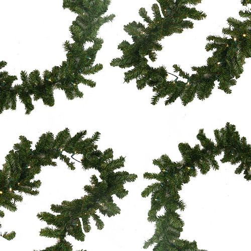 "9' x 10"" Pre-Lit Battery Operated Pine Christmas Garland - Warm Clear LED Lights - IMAGE 1"